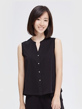 Elegant Solid A Row Of Buttons Design Simple Women's T-Shirt Home Dress
