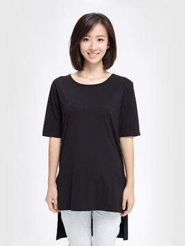 Unique Design Front Short Rear Long Design Sub-Sleeve Women's T-Shirt Home Dress