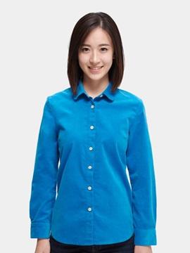 Good Elastic Corduroy Slim Cotton Material Women 's Shirts Home Dress