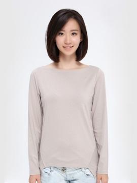 New Special Simple Irregular Collar Long-Sleeved Women's T-shirt