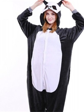 Halloween Black Lemur Flannel One-Piece Stretchable Pajama Jumpsuit