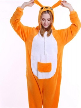 Halloween Yellow Kangaroo Flannel One-Piece Stretchable Pajama Jumpsuit