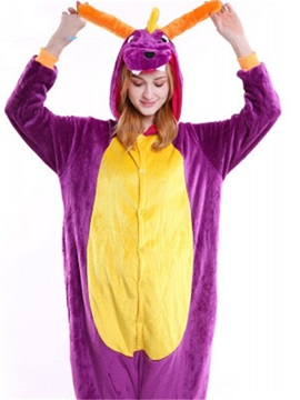 Halloween Purple Dragon Flannel One-Piece Stretchable Pajama Jumpsuit