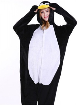 Halloween Cute Penguin Flannel One-Piece Stretchable Pajama Jumpsuit
