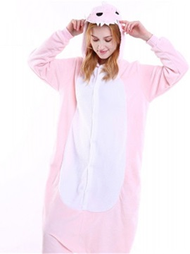Halloween Pink Dinosaur Flannel One-Piece Stretchable Pajama Jumpsuit