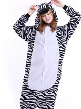 Halloween Lovely Zebra Flannel One-Piece Stretchable Pajama Jumpsuit