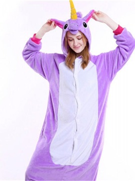 Halloween Purple Unicorn Flannel One-Piece Stretchable Pajama Jumpsuit
