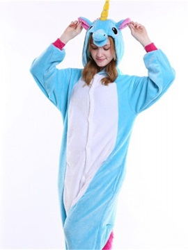 Halloween Blue Pegasus Flannel One-Piece Stretchable Pajama Jumpsuit