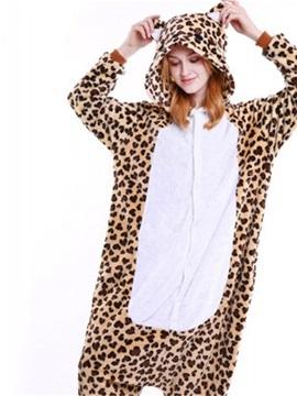 Halloween Leopard Print Bear Flannel One-Piece Stretchable Pajama Jumpsuit