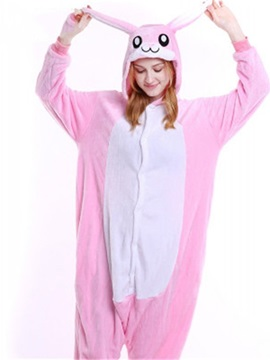 Halloween Pink Bunny Flannel One-Piece Stretchable Pajama Jumpsuit