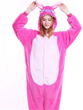 Halloween Pink Stitch Flannel One-Piece Stretchable Pajama Jumpsuit