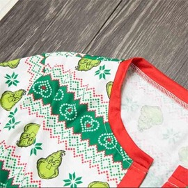 Modern and Creative Leaf with Stripe Pattern Green Polyester Onesie Family Christmas Pajamas