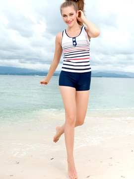 Comfortable Strip Strapless Sports Swimsuit