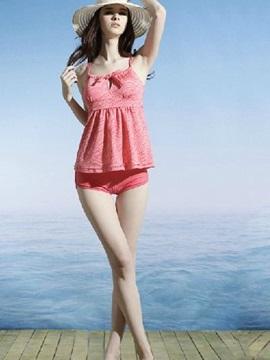 Pink Leopard Pattern Free Wire Swimwear with Falsies Two-piece Tankini