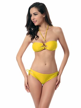 Women Hollow Out Halter Two-piece Bikini Set