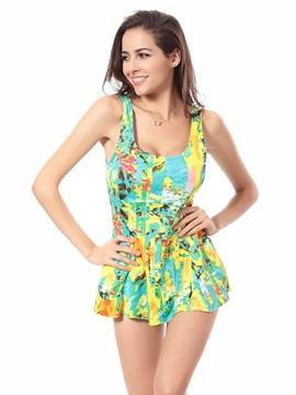 Leopard Pattern One-piece Swimwear Skirt with Freewire Cute Nylon Monokini