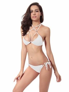 Sexy Solid Color Halter Simple Two-piece Bikini