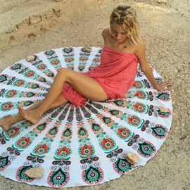 Charming Bohemian Style Outdoor Round Beach Multi Usage Throw Mat