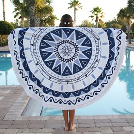 Indian Mandala Round Multi Usage Beach Throw