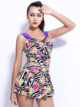 Female Colorful Zebra Free Wire and Falsies Push Up Tankini