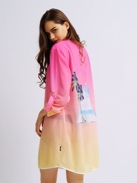 Female Gradient Color Coconut Tree Long Body Blouse with Long Sleeve UV-Pro Beach Cover-up