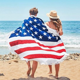 American Flag Pattern Design Round Beach Throw Mat