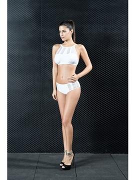 Backless Padded Bikini Set Black White Women's Swimwear