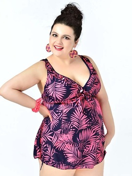 Plus Size Coconut Hawaii Style Floral Two Piece Push up Bathing Suit for Women's Swimsuit