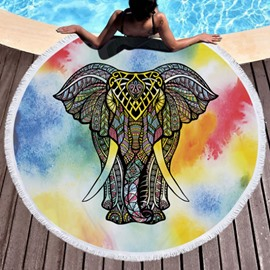 Folk-Custom Style for Beach Swimming Elephant Colorful Pattern with Tassels