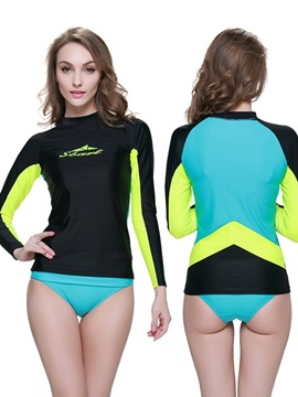Black Blue Long Sleeve Two Piece Summer Women Wetsuit
