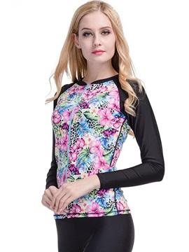 Flower Pattern Long Sleeve Summer Women Wetsuit