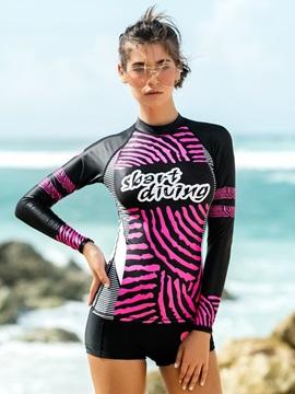 Pink Line Pattern Long Sleeve Summer Women Wetsuit