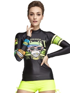 Super-stretch Armpit Monkey Pattern Long Sleeve Couple for Women Wetsuit