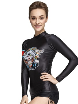 UV-Protection Long Sleeve Cool Monkey Pattern Diving Suit Couple for Women