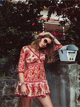Red Female Bohemia Floral Beach Deep-V dress Cover Up