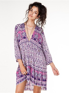 Women Casual Beach Boho Deep V Neck Short Cover Up Dress
