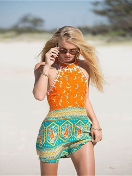 Retro Bohemian Style Orange And Blue Women Cover up Beach Dress