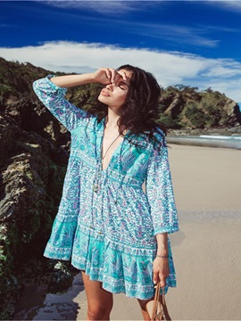 Women's Bohemian Floral Robe Beach Dress Swimsuit Bikini Cover Up
