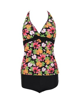 Floral Bandage Women Tankini Swimsuit Plus Size