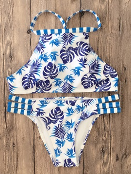 Women Floral Bandage Two-Piece Halter Swimwear Bikini Set