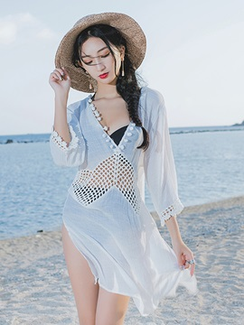 Deep V-Neck Loose Fit Hollow Lace Mesh Cover-up