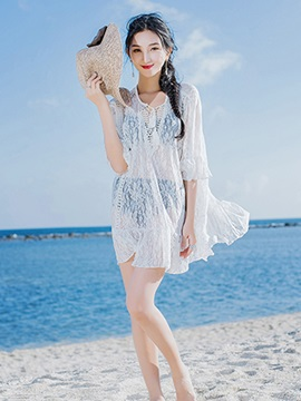Women Deep V-Neck Loose Fit Hollow Lace Cover-up
