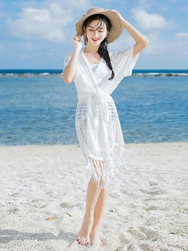 Women Deep V-Neck Tassel Hollow Lace Cover-up