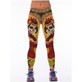 Indian Style Girl Face Custom Printed Blue Female 3D Leggings