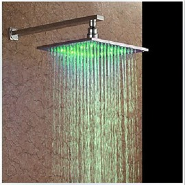 10- inches Color-changing LED Square Chorme Finish Head Shower - without Shower Holder