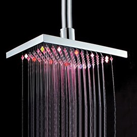 8 Inches Retangular LED Colors Changing Top Shower Head