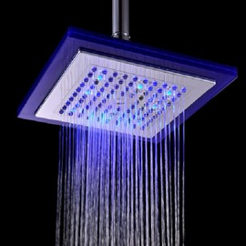 8 Inches LED Colors-changing ABS Rectangular Shower Head Faucet
