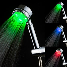 Rainfall 3 Colors Changing According To Temperature Handhold LED Shower Head