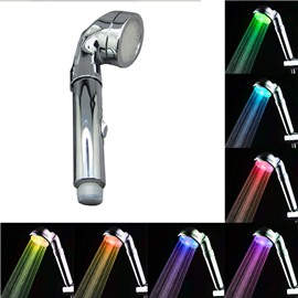 7 Colors Automatic Gradual Changing LED Shower Head with ON/OFF Handle Switch