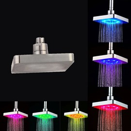 Square Ceiling Mounted 7 Vibrant LED Colors Change Automatically Every Few Seconds Shower Head